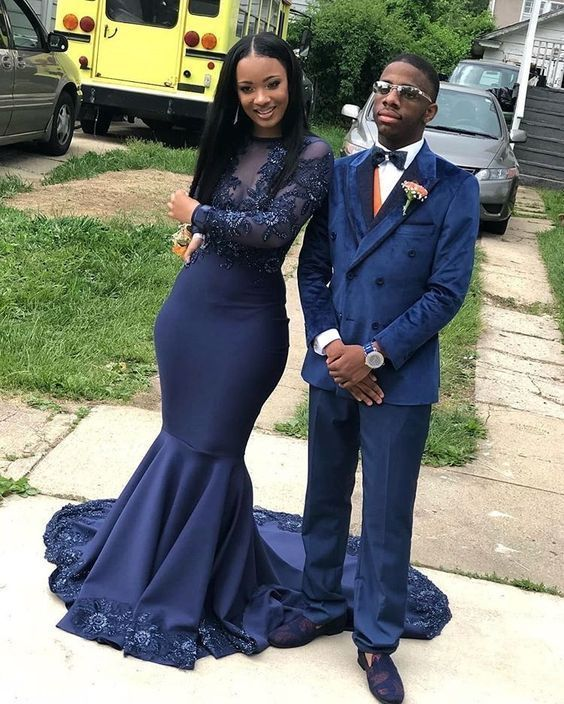 Navy Blue Mermaid Prom Dresses Crew Neck Long Sleeve Lace Appliques African Girl