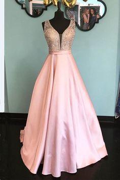 Shinning pink satin V neck long senior prom dress, long open back evening dress