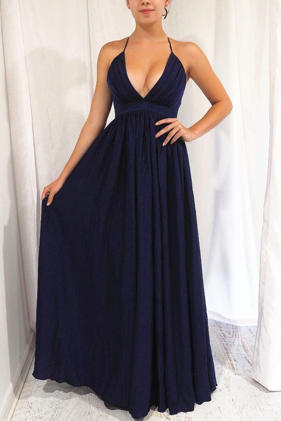 Sexy Navy Blue Long Formal Dress with Cross Back