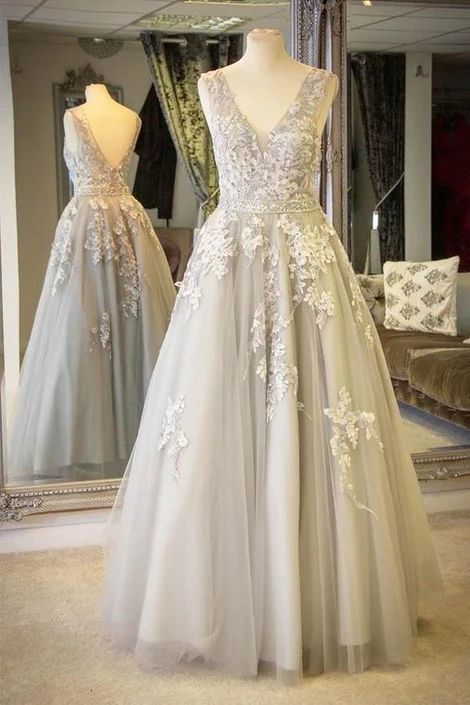 V-Neck Lace Appliques Long Light Grey Prom Dress with Crystals