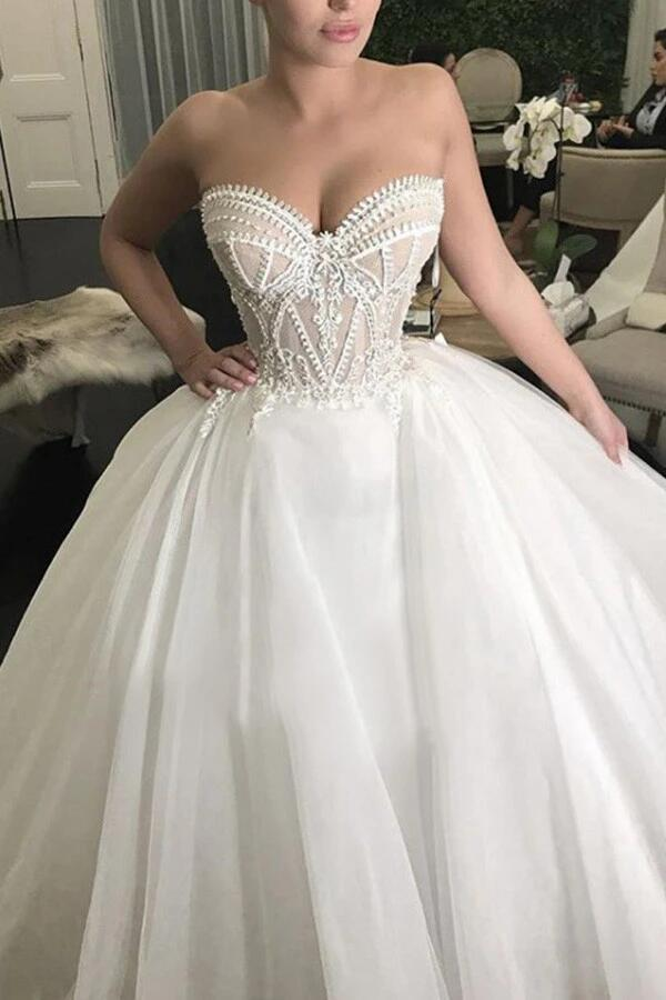 Simple Wedding Dresses Romantic Appliques Sweetheart Long Train Ball Gown Bridal