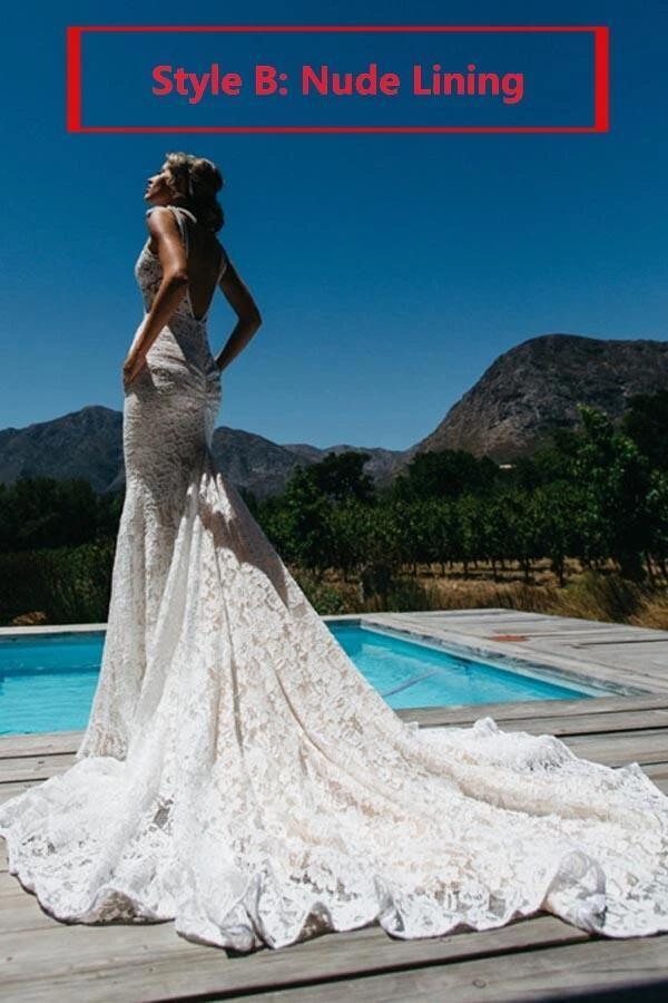 Beach Wedding Dresses Mermaid Straps V-neck Sweep Train Lace Sexy Bridal Gown