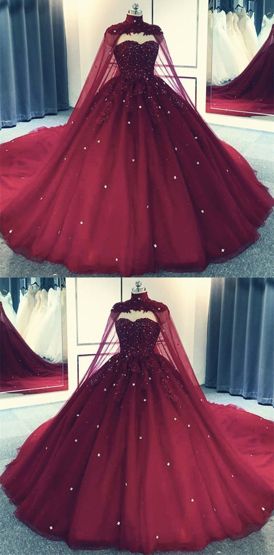 Tulle Ball Gown Prom Dress With Cape