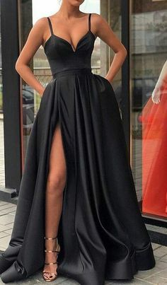 A Line Black Prom Dress,Party Dress,Sexy Evening Dress With Split,Strap Prom