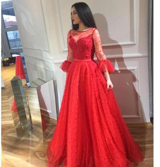Chic Red Beaded Prom Dresses Long Sleeves Sheer Bateau Neck Evening Gowns Floor