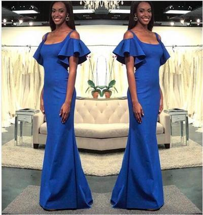 Royal Blue Mermaid Prom Dresses Scoop Short Sleeve Long Party Gowns Evening