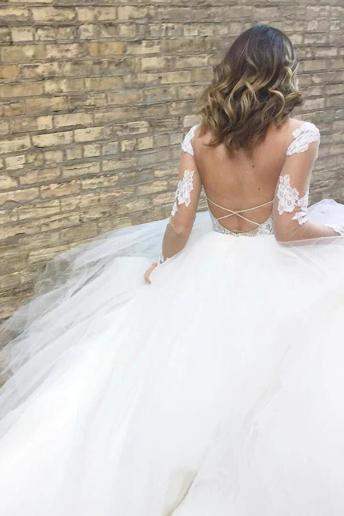 Ball Gown Wedding Dresses Long Sleeves Floor-length Appliques Ivory Tulle Bridal