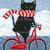 Black Cat Winter Bicycle Ride Original Cat Folk Art Painting
