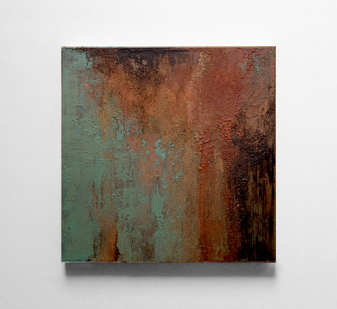 Abstract Painting Original ,copper black turquoise Painting, Painting Texture