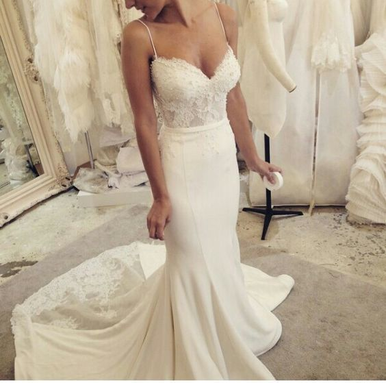 Vintage Sweetheart Wedding Dresses, Spaghetti Straps Wedding Dress, Sexy Lace