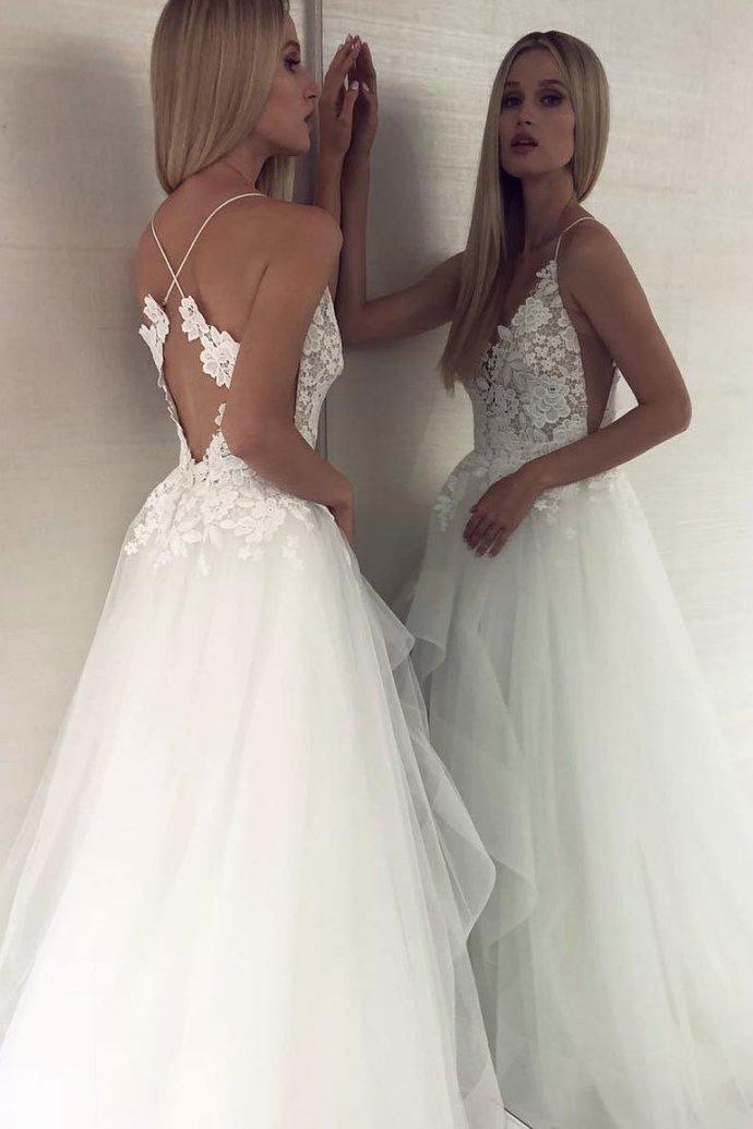 Charming White V-Neck Lace Wedding Dress,Tulle Prom Dress,White Evening Dress