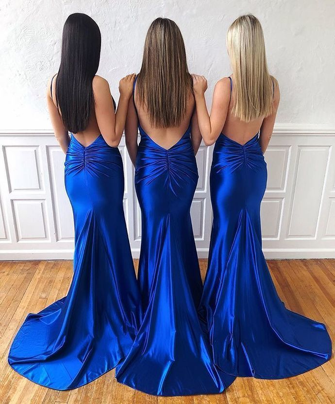 Sexy Royal Blue Mermaid Prom Dress with Open Back,V-Neck Straps Evening