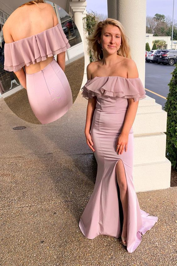 Off Shoulder Ruffles Mermaid Prom Dress with Slit
