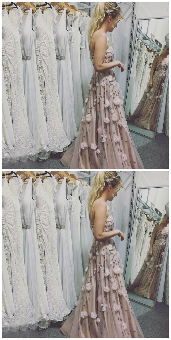A-Line Spaghetti Straps Light Champagne Tulle Prom Dress with Appliques Beading