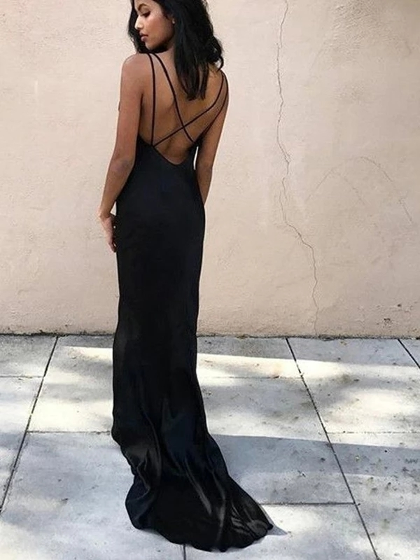 V-Neck Open Back Sleeveless Black Long Prom Dresses G5295