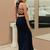 Mermaid Cross Neck Sleeveless Two Pieces Navy Blue Long Prom Dresses N6548