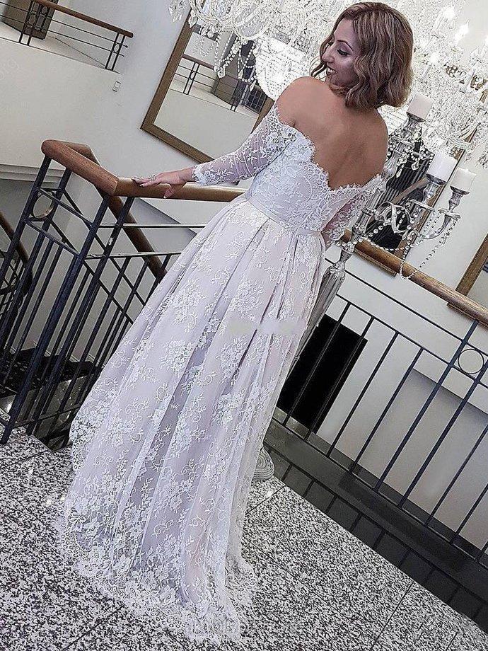A Line Wedding Dress Off The Shoulder Plus Size Lace Vintage Wedding Dress M5720