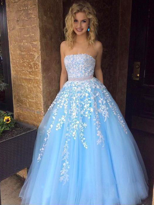 blue beaded prom dresses ball gown lace appliqué 2020 a line tulle elegant cheap
