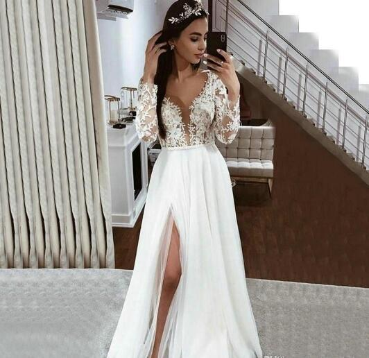 Long Sleeve Lace Appliques Side Slit Wedding Gowns 2020 New Ivory Country Beach