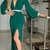 Green V-neck Sexy Evening Dress With Slit Prom Dress ,Long Sleeves Prom Dress