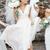 Beach Wedding Dresses  V Neck Floor Length Chiffon Draped Garden Boho Country