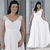 A Line V Neck Lace Chiffon Floor Length Bridal Gowns Cheap Maxi Size Custom Made