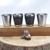 Flask Set and Pocket Watch Stainless Steel Ship Wheel Artisan Design Black