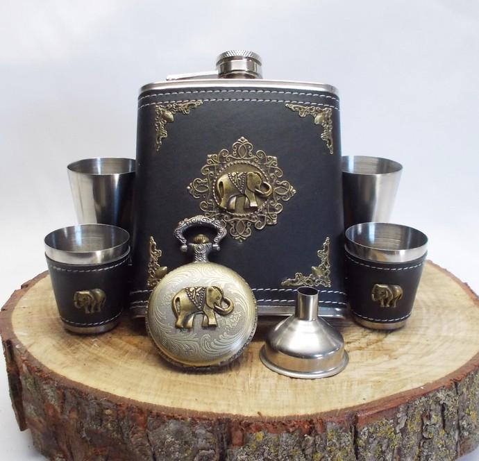Flask Set and Pocket Watch Stainless Steel Elephant Artisan Design Black Bronze