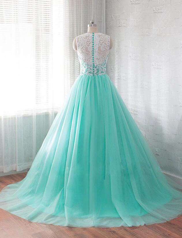 Mint Green Ball Gown Tulle Sweet 16 Gown, Wedding Party Dress