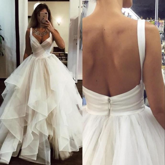 New A Line Wedding Dresses Ruffles White Ivory Princess Wedding Gowns Bride