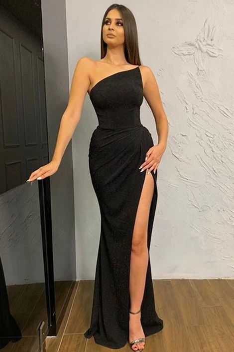 Black One-shoulder Slit Prom Dress
