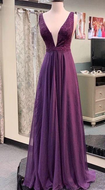 A line V-neckline Grape Prom Dress