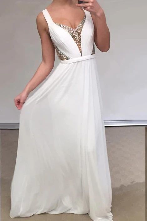 Unique Prom Dresses, Cheap A Line Chiffon Backless White Sweetheart Bead Prom