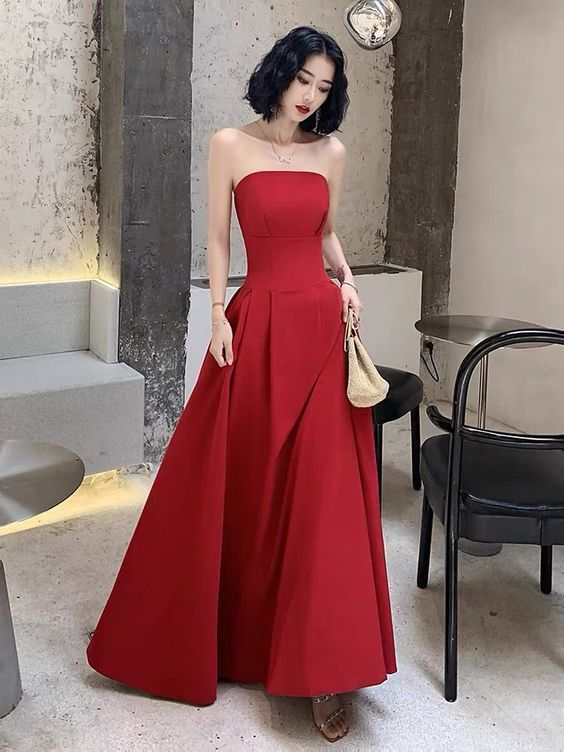 Red Prom Dress Off Shoulder Party Dress Strapless Straps Evening Dress Sexy