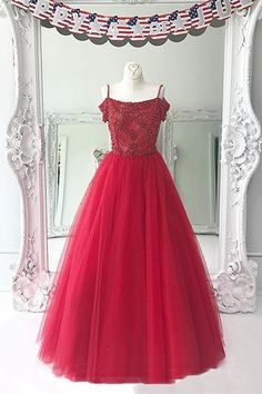 Red spaghetti straps long tulle prom dress, off shoulder evening dress