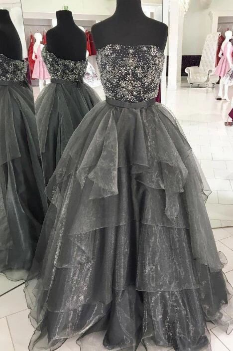 Strapless Long Prom Dress with Beading,Fashion Dance Dress,Sweet 16 Quinceanera