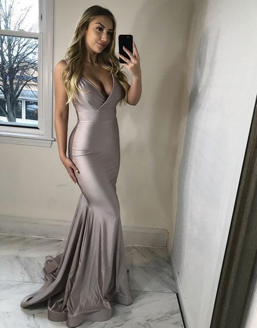 Prom Dress Plus Size, Sexy v neck long prom dress, mermaid evening dress