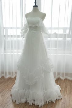White Dotted Tulle Off The Shoulder Long Prom Dress, Evening Dress