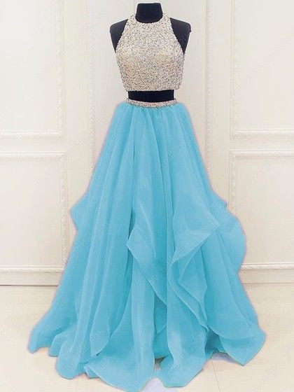 Fashion Beaded Tulle Prom Dresses, Blue Two Piece Prom Dress, Formal Evening
