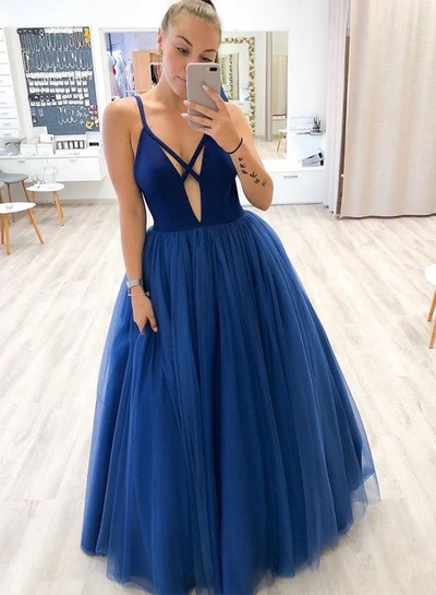 Tulle A Line Royal Blue Prom Dresses, Sleeveless Evening Party Dress