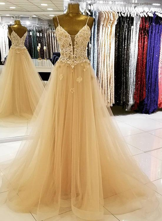 Fashion Straps Champagne Tulle Prom Dresses, Appliques Champagne Wedding Party