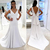 Plain Designed Pure White Simple Wedding Dresses 2020 Mermaid Backless Bridal