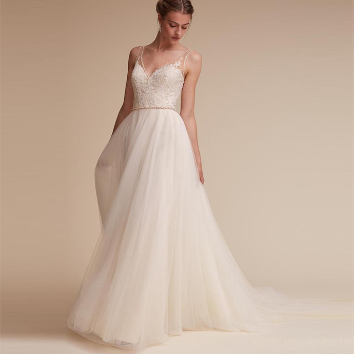 New Hot Lace V-Neck Wedding Gowns Beaded A-Line Custom Made Vintage vestido de