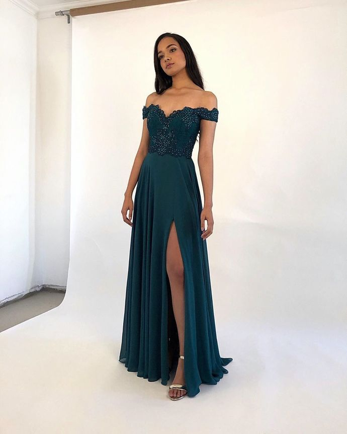 Stylish Off Shoulder Green A Line Prom Dress with Slit, Beaded Long Evening