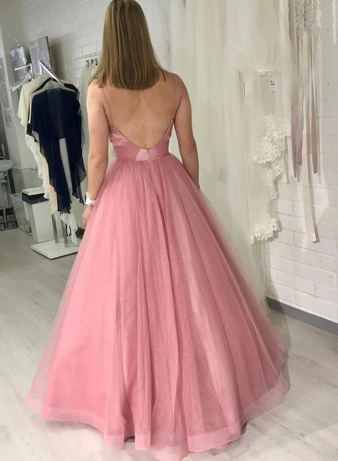 A Line Spaghetti Straps Pink Long Prom Dress with Ruffles, Backless Evening