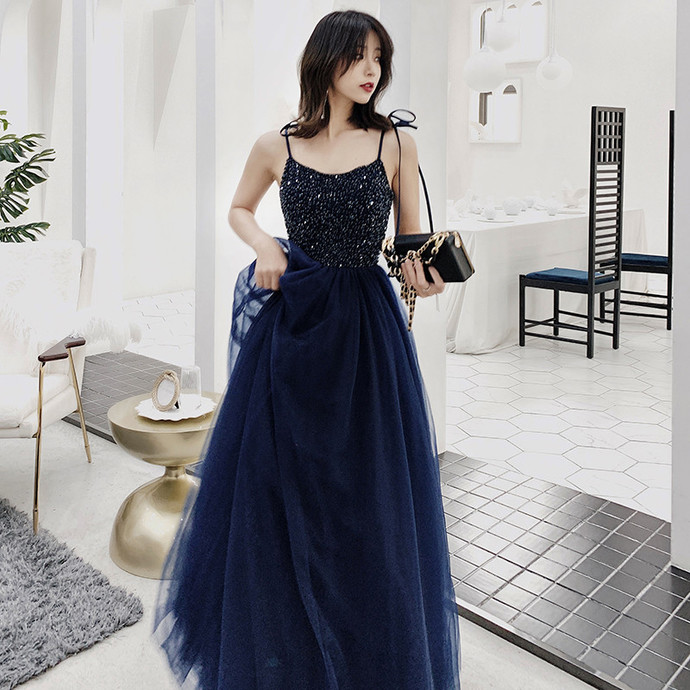 Stylish A Line Spaghetti Straps Navy Blue Prom Dress with Beading, Long Evening