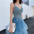 Glamorous A Line Spaghetti Straps Blue Evening Dress, Appliques Prom Dresses