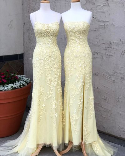 Fashion Yellow Mermaid Prom Dresses, Long Evening Dress with Beads