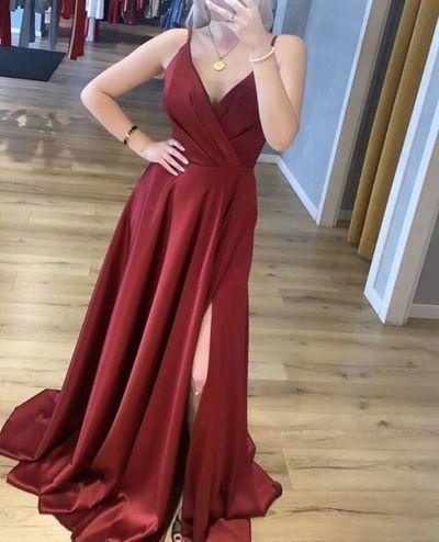 Charming V neck Burgundy Prom Dresses, Side Slit Evening Party Dress