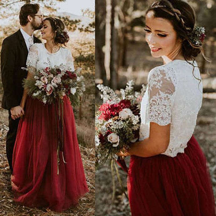 Country Wedding Dress Vintage Two Pieces Ivory Lace Top Dark Red Burgundy Tulle